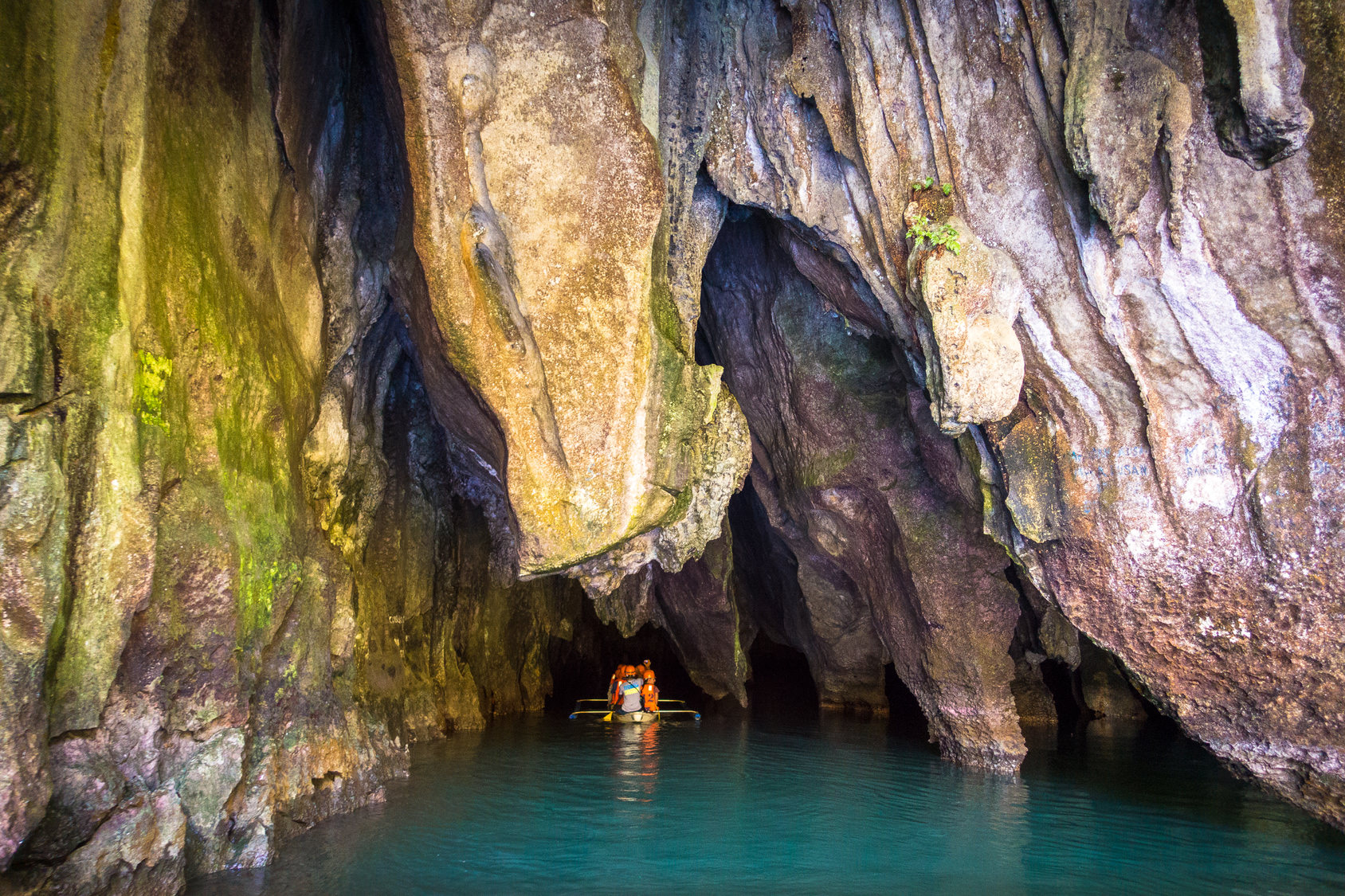 Tour Boat Entering Underground River Puerto Princesa Palawan Philippines