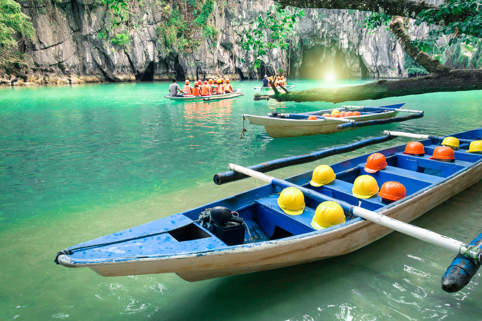 Longtail boats at entrance of Puerto Princesa subterranean river