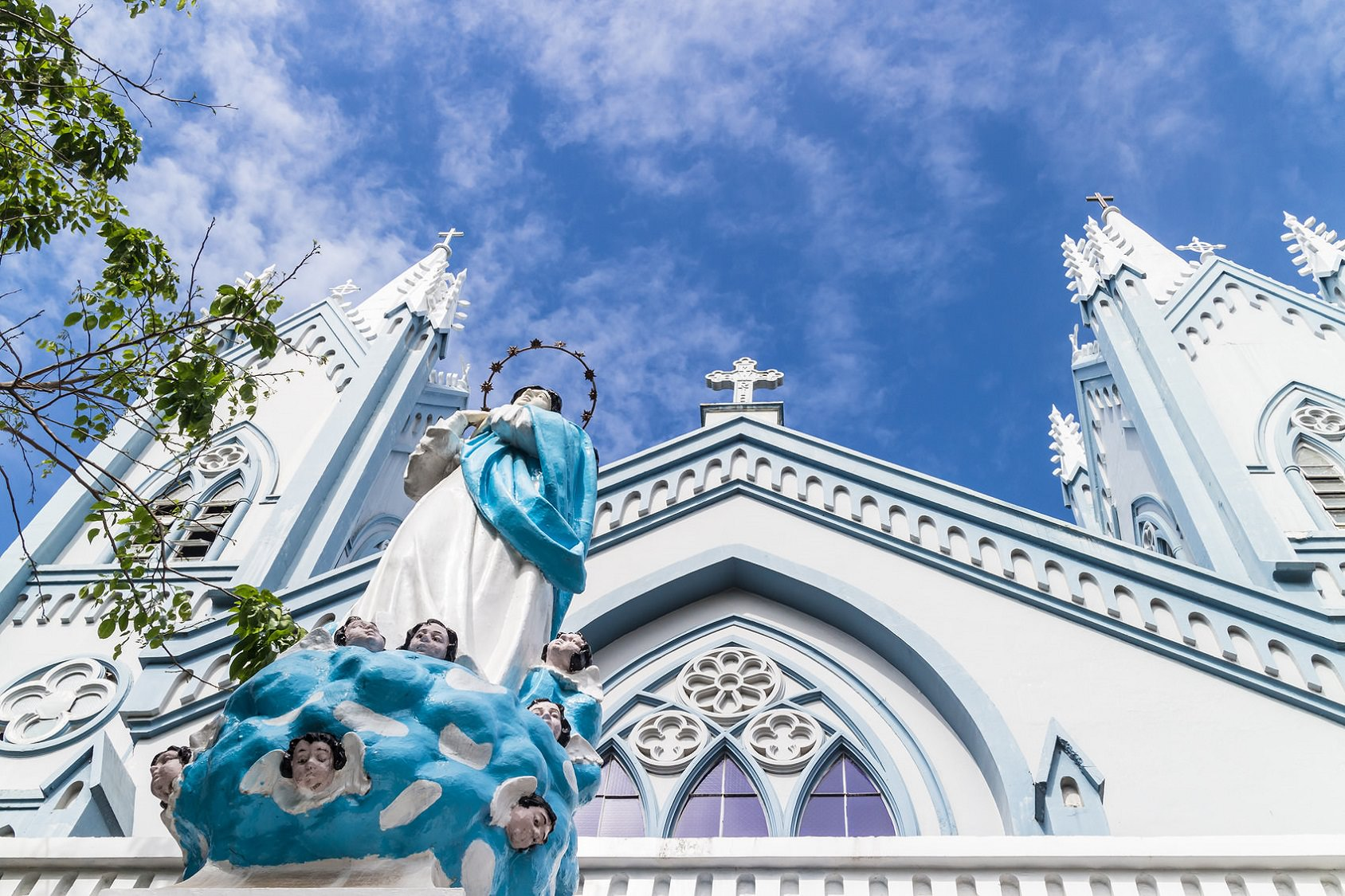 Immaculate Concepcion Cathedral in Puerto Princesa, the main city in the Palawan island of the Philippines. This is a heritage from Spanish colonialism.
